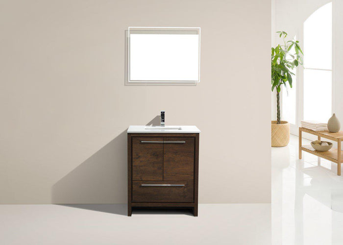 KubeBath Dolce 30″ Rose Wood Modern Bathroom Vanity with White Quartz Counter-Top, AD630RW