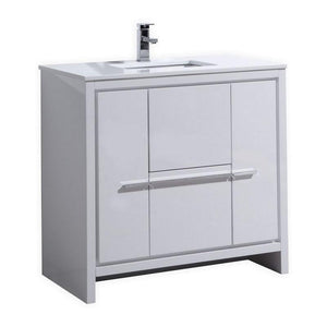 "KubeBath Dolce 36"" Modern Bathroom Vanity with White Quartz Counter Top - High Gloss White test"