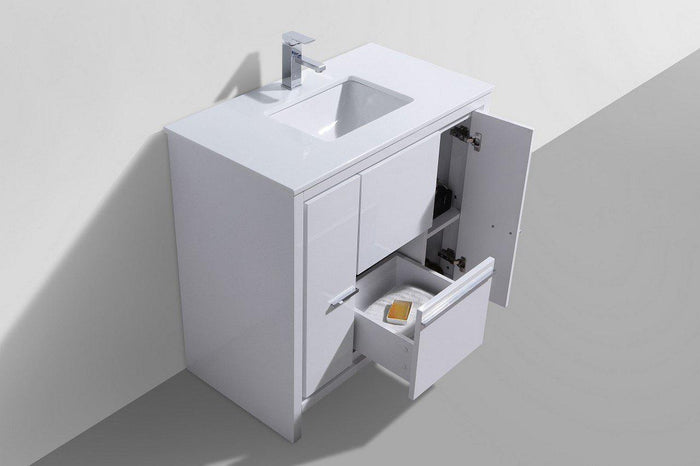 "KubeBath Dolce 36"" Modern Bathroom Vanity with White Quartz Counter Top - High Gloss White"
