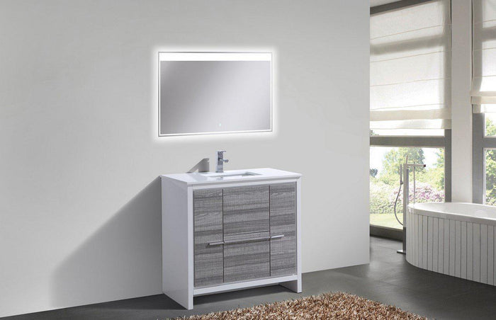 "KubeBath Dolce 36"" Modern Bathroom Vanity with White Quartz Counter Top - Ash Gray, AD636HG"