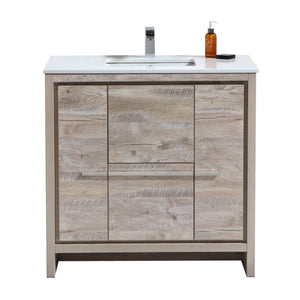 "KubeBath Dolce 36"" Modern Bathroom Vanity with White Quartz Counter Top - Nature Wood, AD636NW"