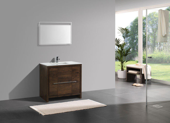 "KubeBath Dolce 36"" Rose Wood  Modern Bathroom Vanity with White Quartz Counter-Top, AD636RW"