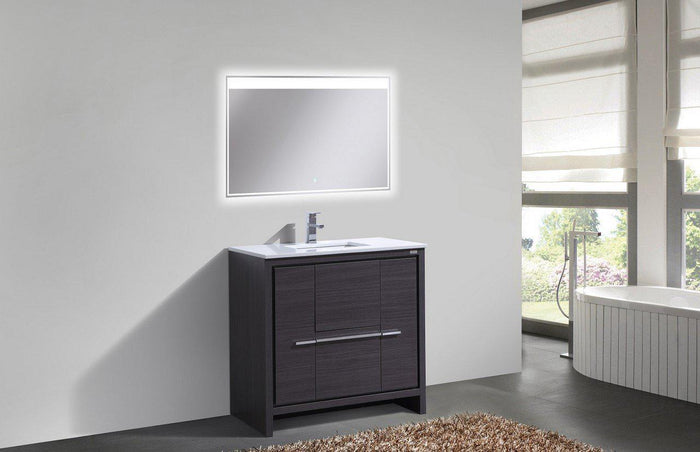 "KubeBath Dolce 36"" Modern Bathroom Vanity with White Quartz Counter Top - Gray Oak, AD636WB"