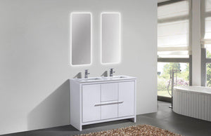 "KubeBath Dolce 48"" Double Sink Modern Bathroom Vanity with White Quartz Counter Top - High Gloss White, AD648DGW test"