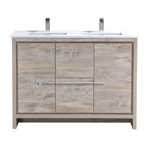 "KubeBath Dolce 48"" Double Sink Modern Bathroom Vanity with White Quartz Counter Top - Nature Wood, AD648DNW"