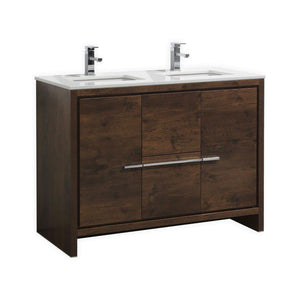 "KubeBath Dolce 48"" Double Sink Rose Wood  Modern Bathroom Vanity with White Quartz Counter-Top, AD648DRW"