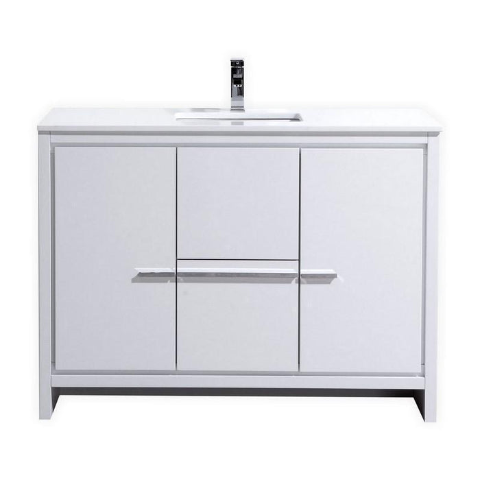 "KubeBath Dolce 48"" Modern Bathroom Vanity with White Quartz Counter Top - High Gloss White, AD648SGW"