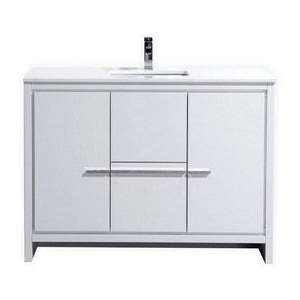 "KubeBath Dolce 48"" Double Sink Modern Bathroom Vanity with White Quartz Counter Top - High Gloss White, AD648DGW"