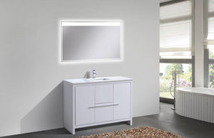 "KubeBath Dolce 48"" Modern Bathroom Vanity with White Quartz Counter Top - High Gloss White, AD648SGW test"