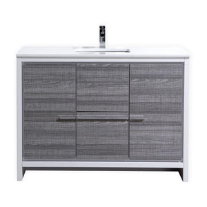 "KubeBath Dolce 48"" Modern Bathroom Vanity with White Quartz Counter Top - Ash Gray, AD648SHG test"