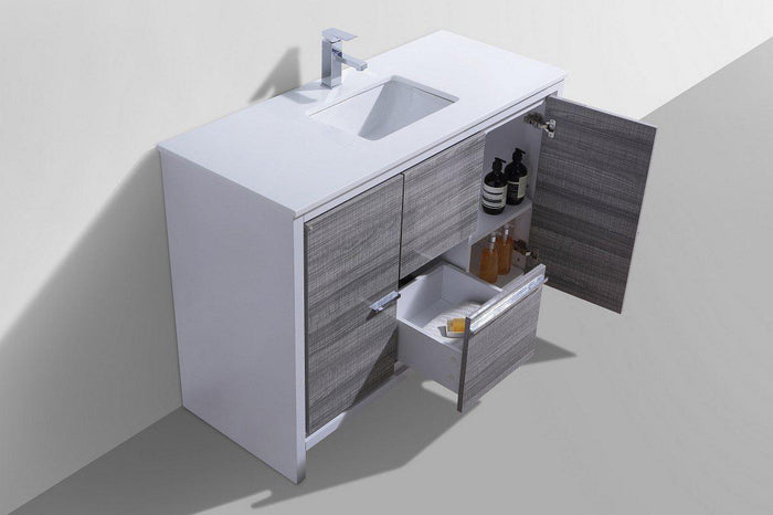 "KubeBath Dolce 48"" Modern Bathroom Vanity with White Quartz Counter Top - Ash Gray, AD648SHG"