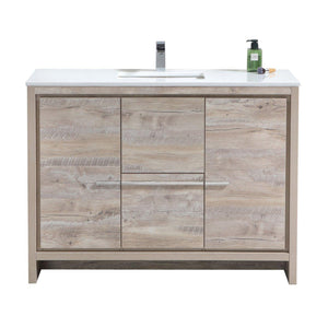 "KubeBath Dolce 48"" Modern Bathroom Vanity with White Quartz Counter Top - Nature Wood, AD648SNW test"