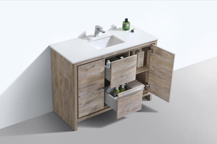 "KubeBath Dolce 48"" Modern Bathroom Vanity with White Quartz Counter Top - Nature Wood, AD648SNW"