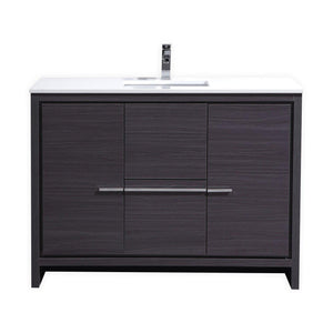"KubeBath Dolce 48"" Modern Bathroom Vanity with White Quartz Counter Top - Gray Oak, AD648SWB"