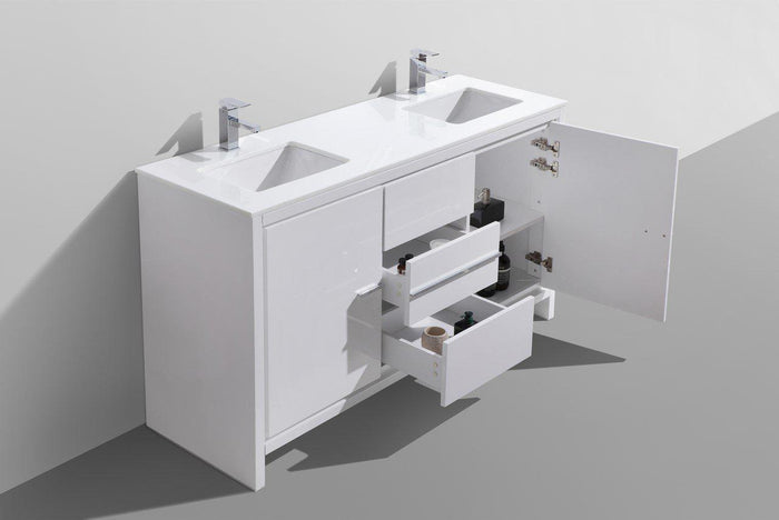 "KubeBath Dolce 60"" Double Sink Modern Bathroom Vanity with White Quartz Counter Top - High Gloss White, AD660DGW"