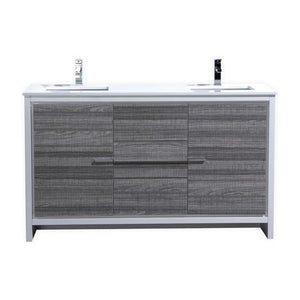 "KubeBath Dolce 60"" Double Sink Modern Bathroom Vanity with White Quartz Counter Top - Ash Gray, AD660DHG test"