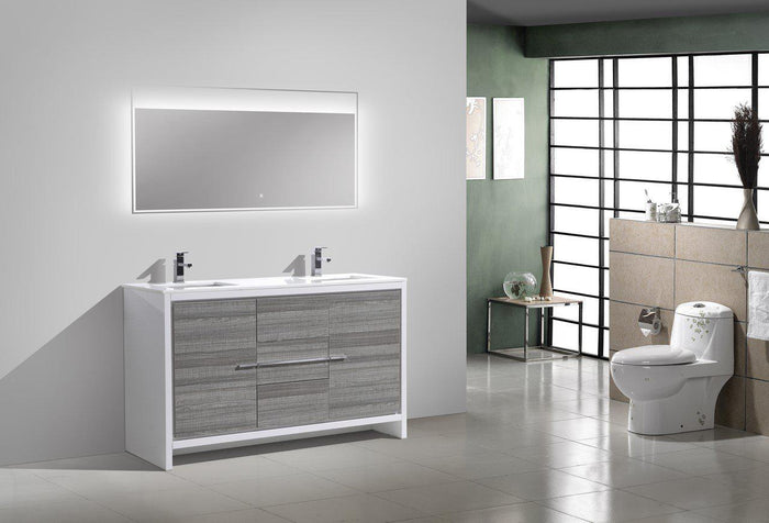 "KubeBath Dolce 60"" Double Sink Modern Bathroom Vanity with White Quartz Counter Top - Ash Gray, AD660DHG"