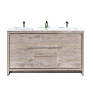 "KubeBath Dolce 60"" Double Sink Modern Bathroom Vanity with White Quartz Counter Top - Nature Wood, AD660DNW"