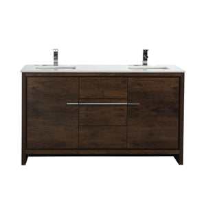 "KubeBath Dolce 60"" Double Sink Rose Wood Modern Bathroom Vanity with White Quartz Counter-Top, AD660DRW test"
