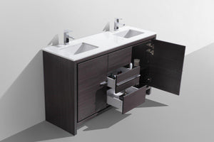 "KubeBath Dolce 60"" Double Sink Modern Bathroom Vanity with White Quartz Counter Top - Dark Gray Oak, AD660DWB test"