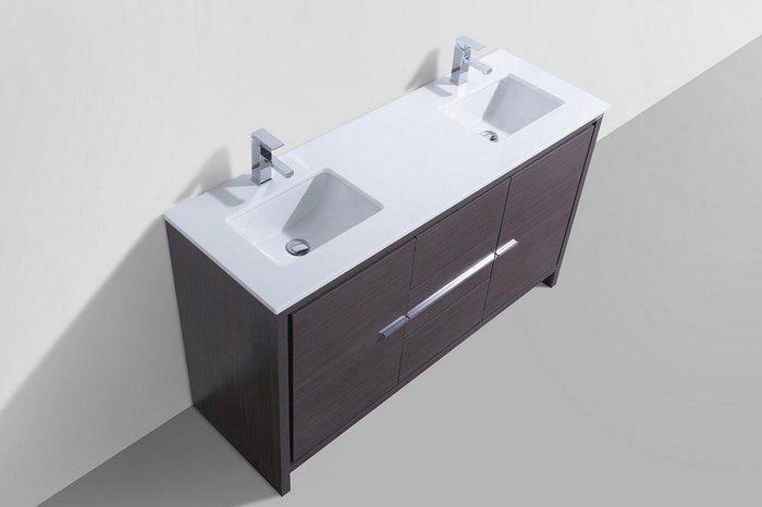 "KubeBath Dolce 60"" Double Sink Modern Bathroom Vanity with White Quartz Counter Top - Dark Gray Oak, AD660DWB"