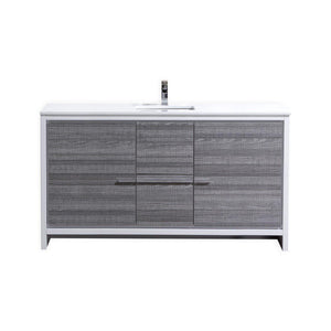 "KubeBath Dolce 60"" Modern Bathroom Vanity with White Quartz Counter Top - Ash Gray, AD660SHG"