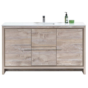 "KubeBath Dolce 60"" Modern Bathroom Vanity with White Quartz Counter Top - Nature Wood, AD660SNW"