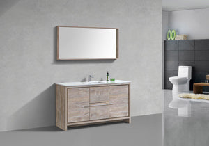 "KubeBath Dolce 60"" Modern Bathroom Vanity with White Quartz Counter Top - Nature Wood, AD660SNW test"