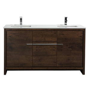 "KubeBath Dolce 60"" Rose Wood Modern Bathroom Vanity with White Quartz Counter-Top, AD660SRW"