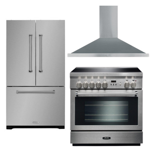 "AGA 36"" Electric Range, Refrigerator, and Range Hood Package, AP-AMPRO36IN-SS-1"