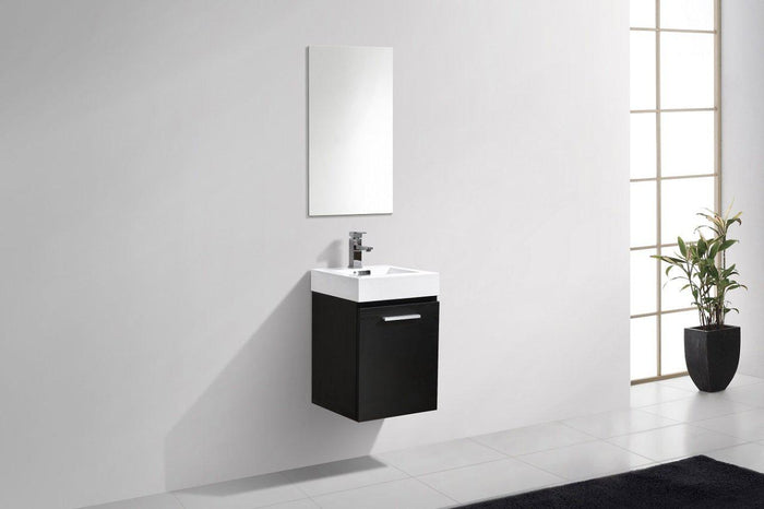 "Bliss 16"" Wall Mount Modern Bathroom Vanity - Black"