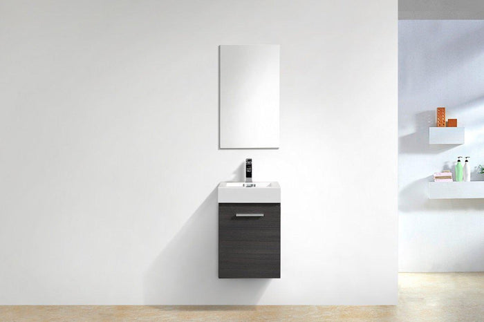"Bliss 16"" Wall Mount Modern Bathroom Vanity - Gray Oak"