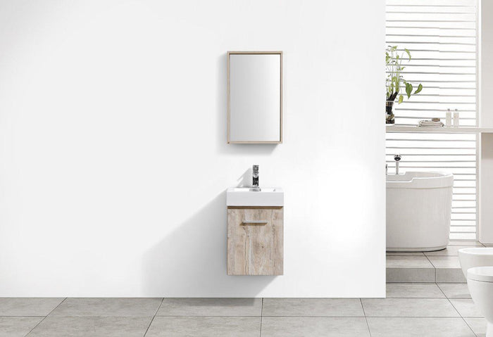 "Bliss 16"" Wall Mount Modern Bathroom Vanity - Nature Wood"