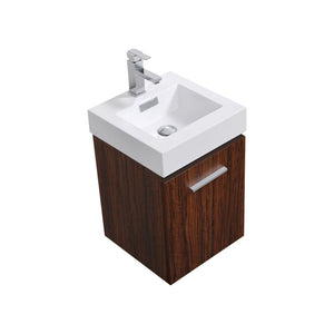 "Bliss 16"" Wall Mount Modern Bathroom Vanity - Walnut test"