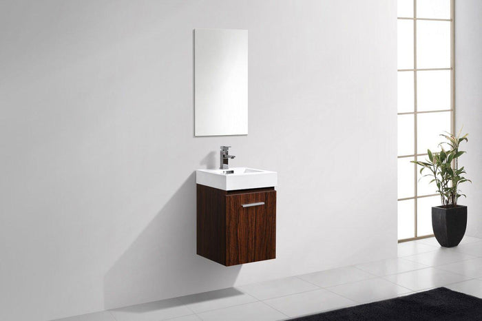 "Bliss 16"" Wall Mount Modern Bathroom Vanity - Walnut"