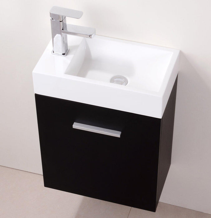 "Bliss 18"" Wall Mount Modern Bathroom Vanity - Black"