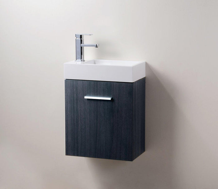 "Bliss 18"" Wall Mount Modern Bathroom Vanity - High Gloss Gray Oak"