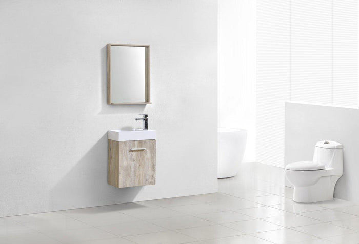 "Bliss 18"" Wall Mount Modern Bathroom Vanity - Nature Wood"