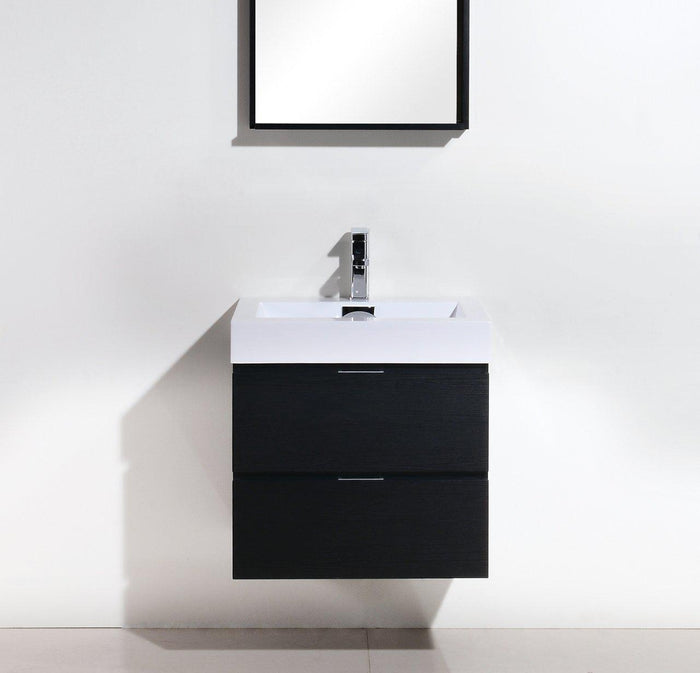 "Bliss 24"" Wall Mount Modern Bathroom Vanity - Black"