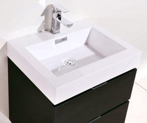 "Bliss 24"" Wall Mount Modern Bathroom Vanity - Black test"