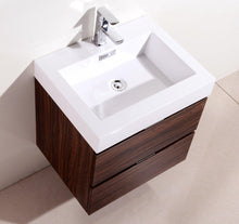 "Bliss 24"" Wall Mount Modern Bathroom Vanity - Walnut"