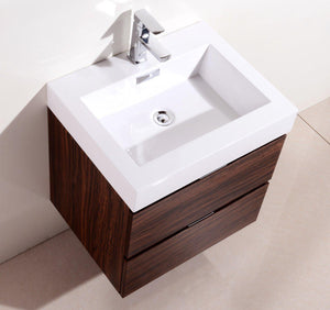 "Bliss 24"" Wall Mount Modern Bathroom Vanity - Walnut test"