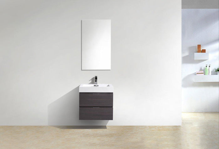 "Bliss 24"" Wall Mount Modern Bathroom Vanity - High Gloss Gray Oak"