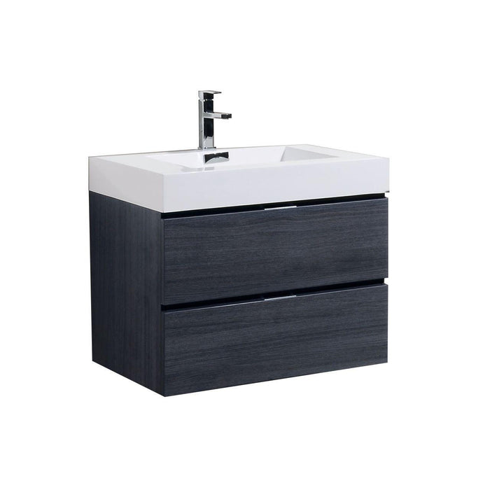 "Bliss 30"" Wall Mount Modern Bathroom Vanity - Gray Oak"