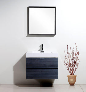 "Bliss 30"" Wall Mount Modern Bathroom Vanity - Gray Oak test"