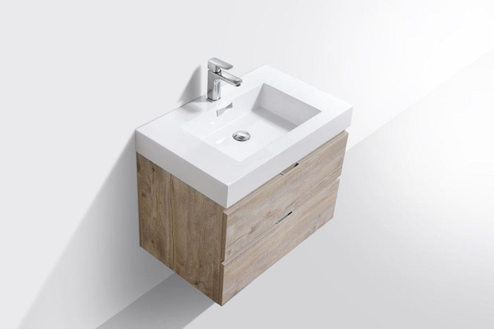 "Bliss 30"" Wall Mount Modern Bathroom Vanity - Nature Wood"