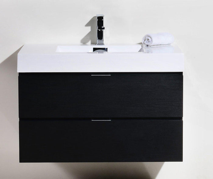 "Bliss 36"" Wall Mount Modern Bathroom Vanity - Black"