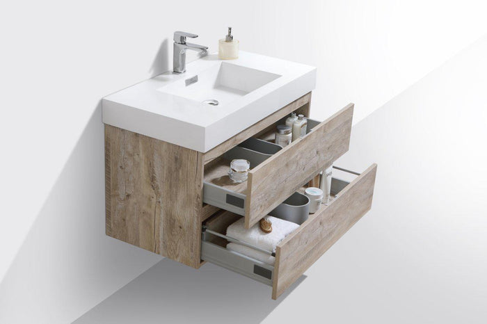 "Bliss 36"" Wall Mount Modern Bathroom Vanity - Nature Wood"