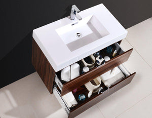 "Bliss 36"" Wall Mount Modern Bathroom Vanity - Walnut test"