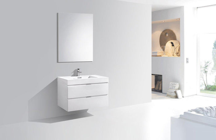 "Bliss 36"" Wall Mount Modern Bathroom Vanity - High Gloss White"
